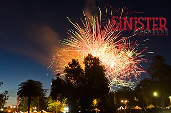 Image of a fireworks display by our expert pyrotechnics